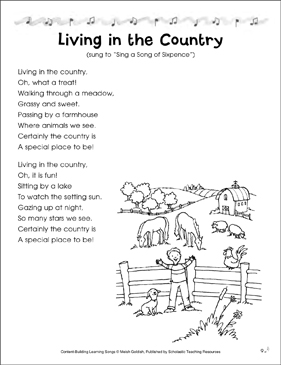 Living in the Country: Content-Building Learning Song - Printable Worksheet