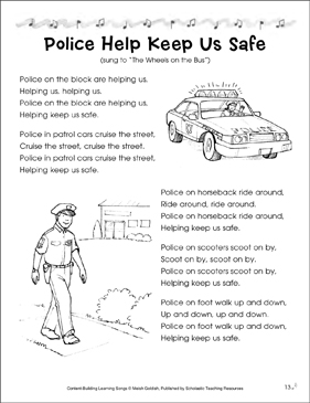 Police Help Keep Us Safe: Content-Building Learning Song - Printable Worksheet