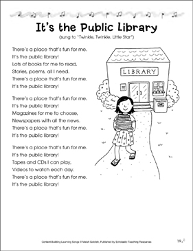 It's the Public Library: Content-Building Learning Song - Printable Worksheet