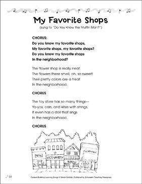 My Favorite Shops: Content-Building Learning Song - Printable Worksheet