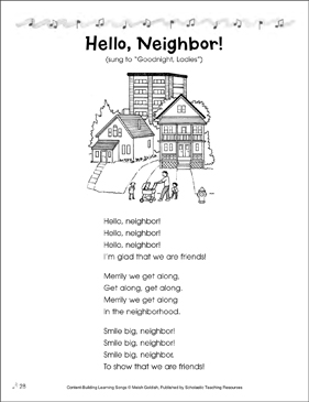 Hello, Neighbor! Content-Building Learning Song - Printable Worksheet