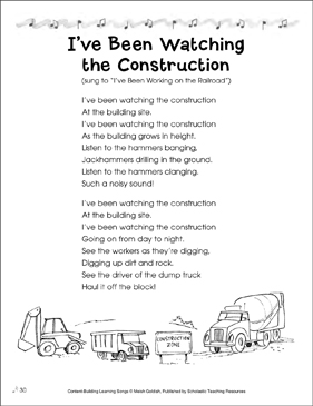 I've Been Watching the Construction: Content-Building Learning Song - Printable Worksheet