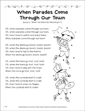 When Parades Come Through Our Town: Content-Building Learning Song - Printable Worksheet