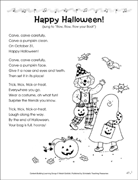 Happy Halloween! Content-Building Learning Song - Printable Worksheet