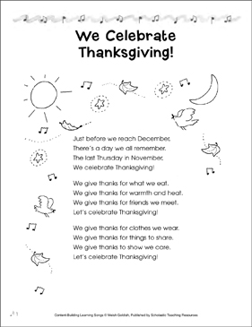 We Celebrate Thanksgiving! Content-Building Learning Song - Printable Worksheet