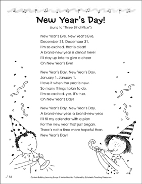 New Year's Day! Content-Building Learning Song - Printable Worksheet