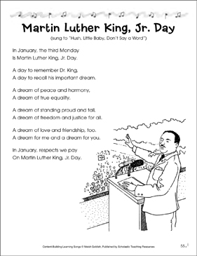 Martin Luther King, Jr. Day: Content-Building Learning Song - Printable Worksheet