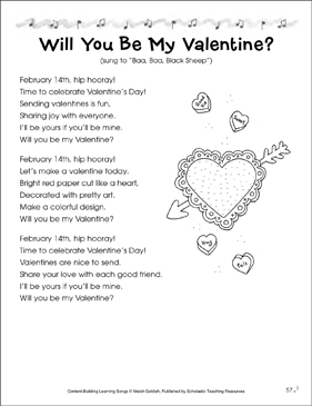 Will You Be My Valentine?: Content-Building Learning Song - Printable Worksheet