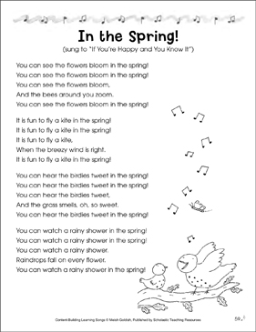 In the Spring! Content-Building Learning Song - Printable Worksheet