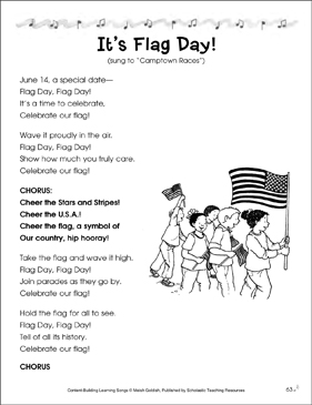 It's Flag Day! Content-Building Learning Song - Printable Worksheet