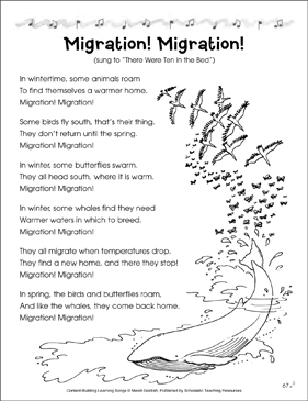 Migration! Migration! Content-Building Learning Song - Printable Worksheet