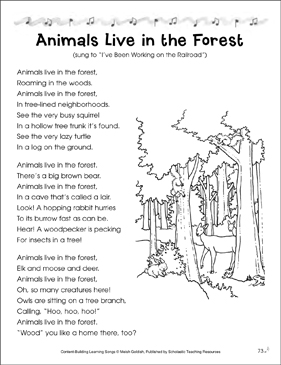 Animals Live in the Forest: Content-Building Learning Song - Printable Worksheet