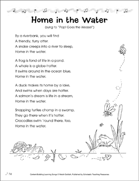 Home in the Water: Content-Building Learning Song - Printable Worksheet