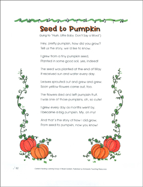 Seed to Pumpkin: Content-Building Learning Song - Printable Worksheet