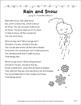 Rain and Snow: Content-Building Learning Song - Printable Worksheet