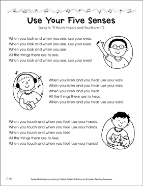 Use Your Five Senses: Content-Building Learning Song - Printable Worksheet