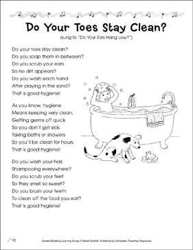 Do Your Toes Stay Clean? Content-Building Learning Song - Printable Worksheet