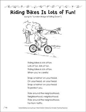 Riding Bikes Is Lots of Fun! Content-Building Learning Song - Printable Worksheet