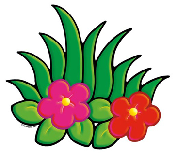 Pink and Red Flowers With Foliage - Image Clip Art