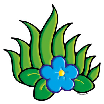 Blue Flower With Foliage - Image Clip Art