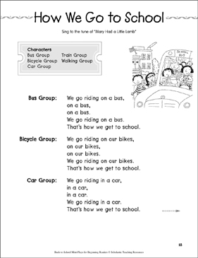 How We Go to School: Back-to-School Mini-Play - Printable Worksheet