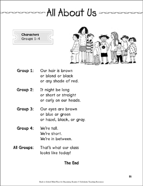 All About Us: Back-to-School Mini-Play - Printable Worksheet