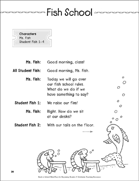 Fish School: Back-to-School Mini-Play - Printable Worksheet