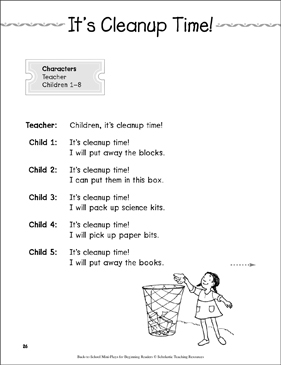 It's Cleanup Time!: Back-to-School Mini-Play - Printable Worksheet