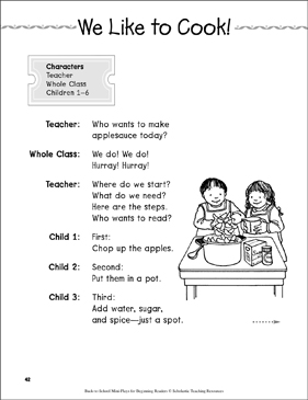 We Like to Cook!: Back-to-School Mini-Play - Printable Worksheet