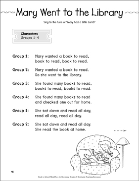 Mary Went to the Library: Back-to-School Mini-Play - Printable Worksheet