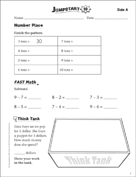 Independent Practice: Grade 1 Math Jumpstart 10 - Printable Worksheet