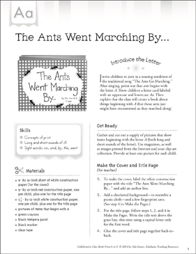 The Ants Went Marching By: Letter A Collaborative Class Book - Printable Worksheet