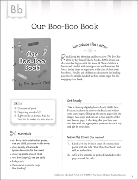 Our Boo-Boo Book: Letter B Collaborative Class Book - Printable Worksheet