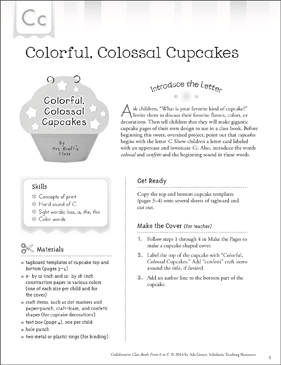 Colorful, Colossal Cupcakes: Letter C Collaborative Class Book - Printable Worksheet
