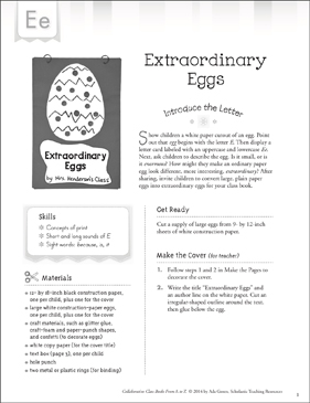 Extraordinary Eggs: Letter E Collaborative Class Book - Printable Worksheet
