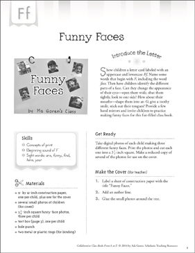 Funny Faces: Letter F Collaborative Class Book - Printable Worksheet