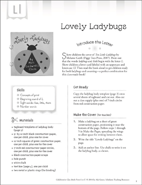Lovely Ladybugs: Letter L Collaborative Class Book - Printable Worksheet