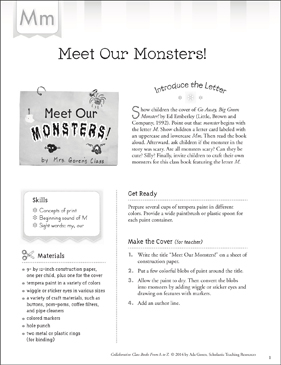 Meet Our Monsters!: Letter M Collaborative Class Book - Printable Worksheet