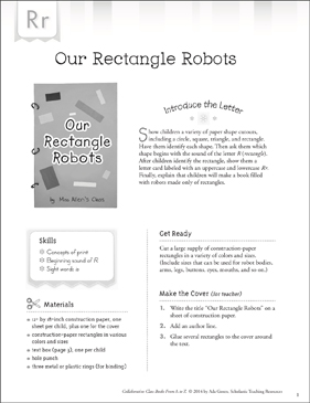 Our Rectangle Robots: Letter R Collaborative Class Book - Printable Worksheet