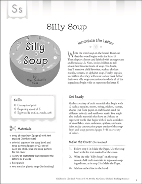 Silly Soup: Letter S Collaborative Class Book - Printable Worksheet