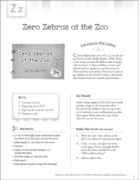 Zero Zebras at the Zoo: Letter Z Collaborative Class Book - Printable Worksheet