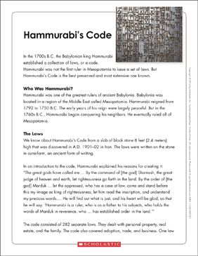 Hammurabi's Code: Text & Organizer - Printable Worksheet