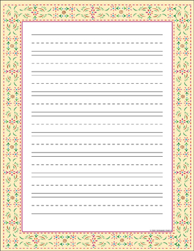 Colonial Stencil (Lined - Primary) Bordered Stationery - Printable Worksheet