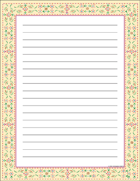 Colonial Stencil (Lined) Bordered Stationery - Printable Worksheet