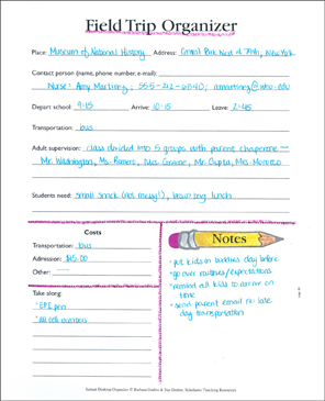 Field Trip Organizer: The Organized Teacher - Printable Worksheet