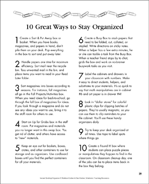 10 Great Ways to Stay Organized - Printable Worksheet