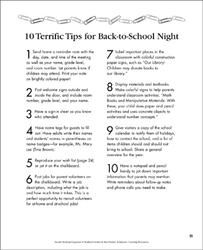 10 Terrific Tips for Back-to-School Night - Printable Worksheet