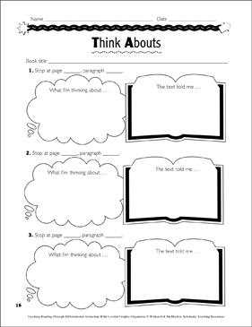 Think Abouts: Leveled Graphic Organizers for Differentiated Reading Instruction (Grades 4-8) - Printable Worksheet