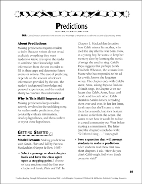 Predictions: Leveled Graphic Organizers for Differentiated Reading Instruction (Grades 4-8) - Printable Worksheet
