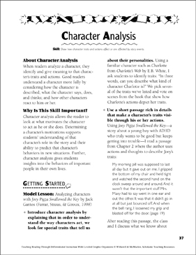Character Analysis: Leveled Graphic Organizers - Printable Worksheet